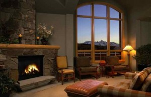 One of Many Fireplaces to Choose from at The Himmel Spa