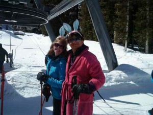 Skiing Bunnies, Mary Dawn and Michael, Hop on the Quad in T-ride on Easter Sunday