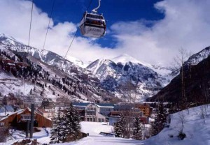 The Gondola and Camel's Garden Hotel Backdropped by Telluride's Majestic Peaks