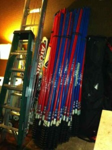 Skis & Gates in the Westin's Lobby:  Sure Sign of World Cup Doings