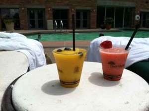Colorful Fresh Fruit Blender Drinks Poolside at The Peaks