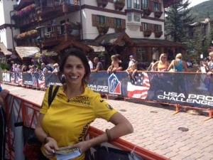 Taking a Break from Book Promoting Along the Barriers at the Vail Time Trial of the USA Pro Cycling Challenge