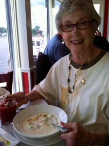 Mom Enjoying Chowder in Mystic Connecticut