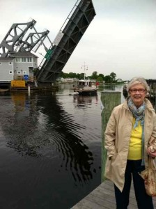 Mom in Front of Mystic's Famed Drawbridge