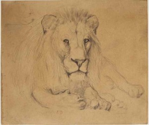 Reclining Lion by Pierre Andrieu