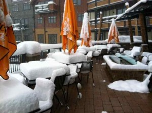 The Outdoor Scene at Truffle Pig on a Powder Day