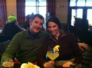 Steve and Me Toasting Our Powder Day in Steamboat at Truffle Pig