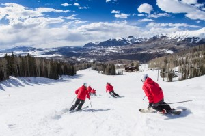Southern Synchro Skiers Practicing in Telluride, Colorado