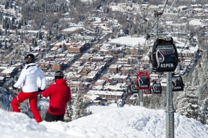 The Town of Aspen, Aspen Mountain and the Gondola During the Seaso