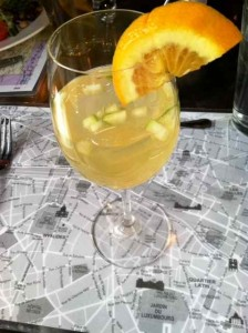 Quel Plaisir:  A Delicious Sangria Poised on a Map of Paris at The Village Table