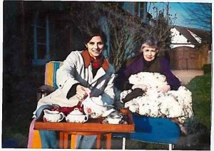 Me and Mom Early Spring 1990ish Having Tea in the Garden at the Normandy Country House