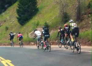 Powering Up Behind Spectator Cyclists on McClure Pass Outside of Aspen