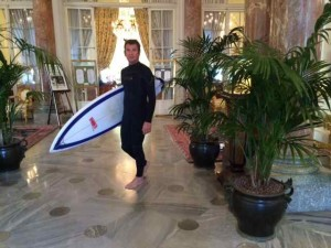 Glorious Contrasts:  Steve Headed Out to Surf at the Hôtel du Palais in Biarritz