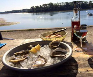 Oysters and Vin Blanc at Lake Hossegor:  One of Many Delightful Meals in France