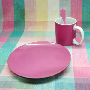 Raspberry-Colored Breakfast Set from Quel Objet
