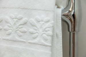 Luxurious Linens on a Heated Towel Rack at L'Orsay