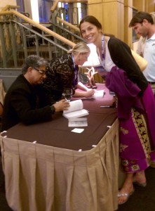 Deepak Chopra Signing a Copy of One of His Books for Me at the Telluride Integrative Wellness Summit