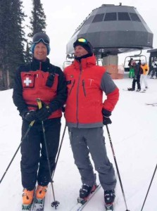 Ski Patroller Ryan Taylor with 35-Year Veteran Instructor Randy Reece
